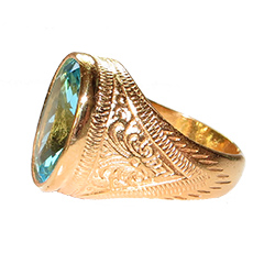 Gold-plated aquamarine